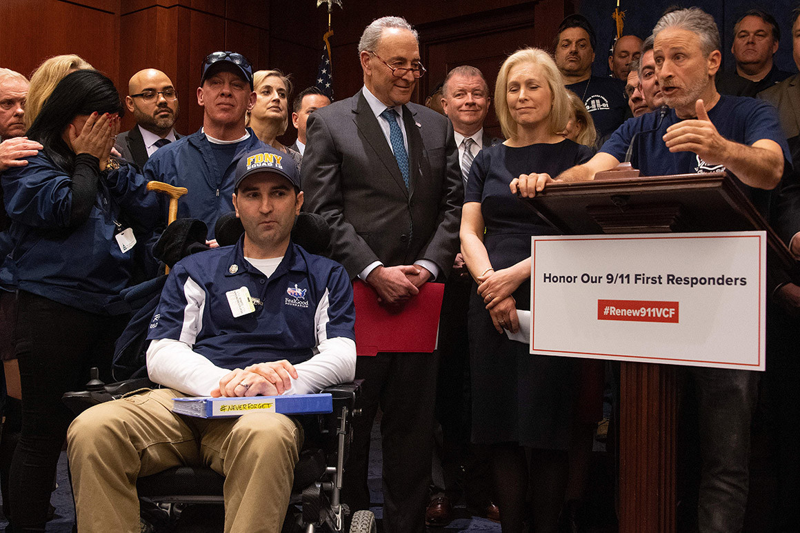 Jon Stewart appears with NY senators and 9/11 first responders, to support renewing the Victims Compensation Fund.