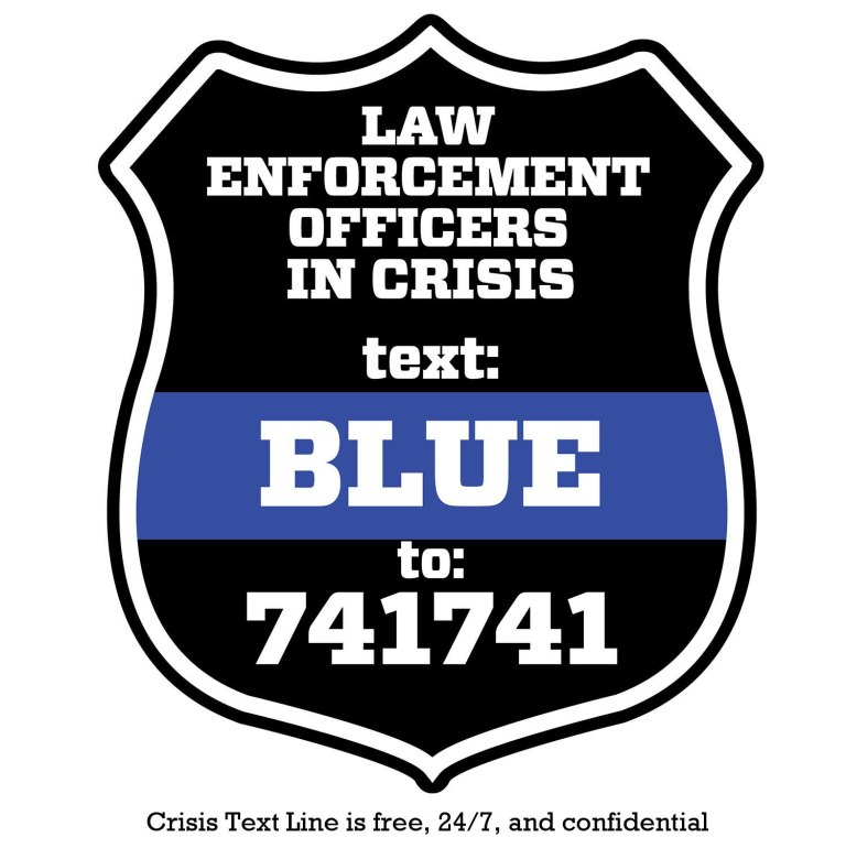 Police contemplating suicide: text BLUE to 741741